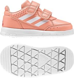 Pomarańczowe buty sportowe dziecięce Adidas na rzepy
