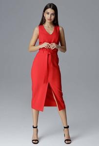 Czerwona sukienka Figl midi z dekoltem w kształcie litery v dopasowana