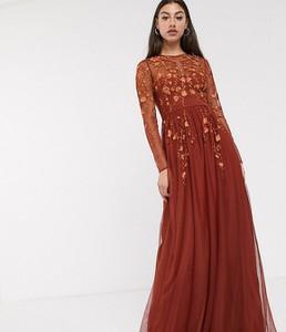 Brązowa sukienka Asos z długim rękawem