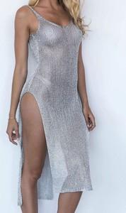 Srebrna sukienka Arilook z bawełny na ramiączkach