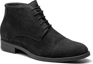 Czarne buty zimowe Gino Rossi w stylu casual z zamszu sznurowane