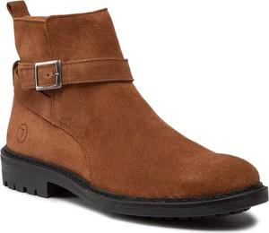 Brązowe buty zimowe Trussardi Jeans na zamek