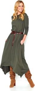 Zielona sukienka Makadamia z okrągłym dekoltem
