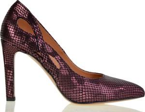 Szpilki lizard-shoes.com na obcasie ze spiczastym noskiem ze skóry