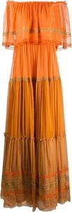 Pomarańczowa sukienka Alberta Ferretti maxi