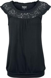 Czarny t-shirt Emp w stylu casual z okrągłym dekoltem z krótkim rękawem