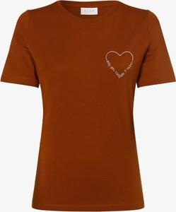 Brązowy t-shirt Vila z krótkim rękawem z bawełny