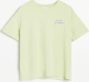 Zielony t-shirt Reserved z krótkim rękawem w stylu casual z bawełny
