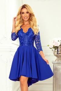 Niebieska sukienka NUMOCO mini z dekoltem w kształcie litery v z długim rękawem