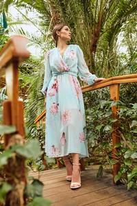 Turkusowa sukienka Lemoniade z długim rękawem z szyfonu wyszczuplająca