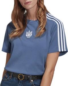 Niebieski t-shirt Adidas z okrągłym dekoltem z bawełny