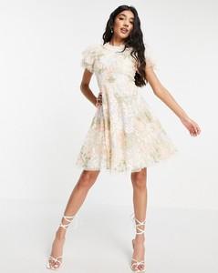Sukienka Needle & Thread z krótkim rękawem z tiulu z golfem