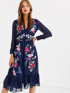 Granatowa sukienka Asos Design z dekoltem w kształcie litery v