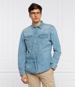 Niebieska koszula Pepe Jeans z klasycznym kołnierzykiem w stylu casual z długim rękawem