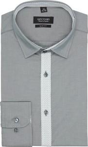 Szara koszula recman z długim rękawem bez wzorów