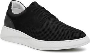 Czarne buty sportowe Ryłko ze skóry sznurowane