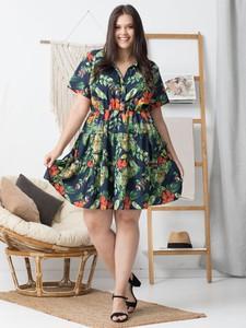 Sukienka KARKO z krótkim rękawem dla puszystych