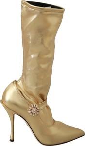 Złote kozaki Dolce & Gabbana na zamek ze skóry