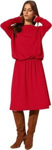 Czerwona sukienka CAHA z długim rękawem z dzianiny