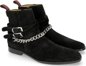 Czarne buty zimowe Melvin & Hamilton na zamek ze skóry