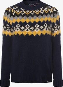 Granatowy sweter Superdry w stylu skandynawskim z wełny