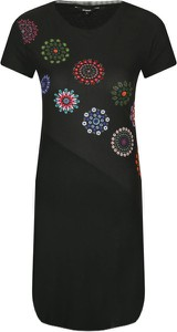 Czarna sukienka Desigual w stylu casual prosta z krótkim rękawem