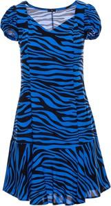 Niebieska sukienka Be z krótkim rękawem z tkaniny mini