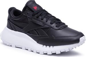 Czarne buty sportowe Reebok sznurowane ze skóry
