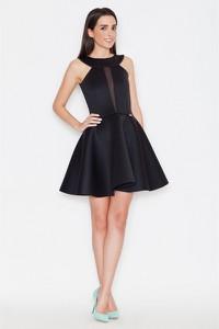 Czarna sukienka Katrus bez rękawów rozkloszowana mini