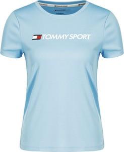 Niebieski t-shirt Tommy Sport w stylu casual z krótkim rękawem
