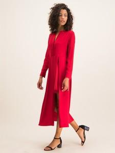 Czerwona sukienka Twinset z dekoltem w kształcie litery v z długim rękawem maxi