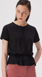 Czarny t-shirt Sinsay z okrągłym dekoltem z krótkim rękawem