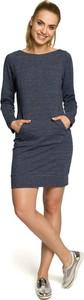 Niebieska sukienka MOE z długim rękawem mini w stylu casual
