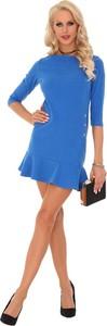 Niebieska sukienka MERRIBEL z długim rękawem mini z okrągłym dekoltem