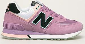 Różowe buty sportowe New Balance ze skóry na koturnie sznurowane