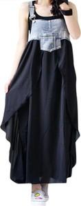 Sukienka Arilook z jeansu z okrągłym dekoltem maxi