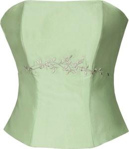 Zielona bluzka Fokus bez rękawów w stylu glamour