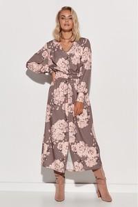 Różowa sukienka Makadamia z długim rękawem z dekoltem w kształcie litery v
