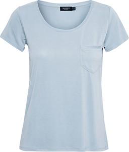 Niebieski t-shirt Soaked in Luxury z okrągłym dekoltem w stylu casual