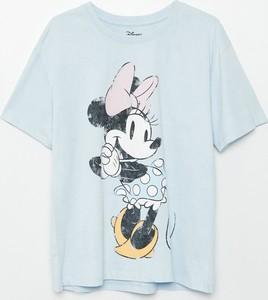 T-shirt Cropp z okrągłym dekoltem z nadrukiem