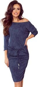 Niebieska sukienka Moda Dla Ciebie z długim rękawem dopasowana w stylu casual