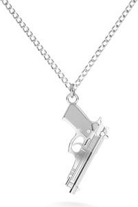 GIORRE Srebrny naszyjnik pistolet duża beretta 925 : Długość (cm) - 60, Kolor pokrycia srebra - Pokrycie Jasnym Rodem