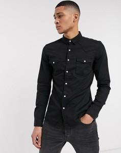 Czarna koszula Asos z bawełny z długim rękawem