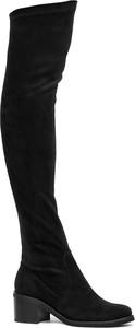 Czarne kozaki Neścior za kolano w stylu klasycznym na obcasie