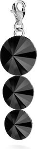 GIORRE SREBRNY CHARMS POTRÓJNY KRYSZTAŁ SWAROVSKI 925 : Kolor kryształu SWAROVSKI - Jet, Kolor pokrycia srebra - Pokrycie Jasnym Rodem
