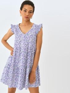 Fioletowa sukienka Mohito mini z dekoltem w kształcie litery v z bawełny