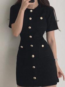 Czarna sukienka Kendallme w stylu casual z okrągłym dekoltem mini