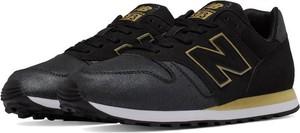 Czarne buty sportowe New Balance w street stylu sznurowane 373