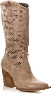 Brązowe kozaki Calzado w stylu boho przed kolano ze skóry