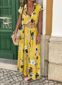 Żółta sukienka Sandbella maxi w stylu boho